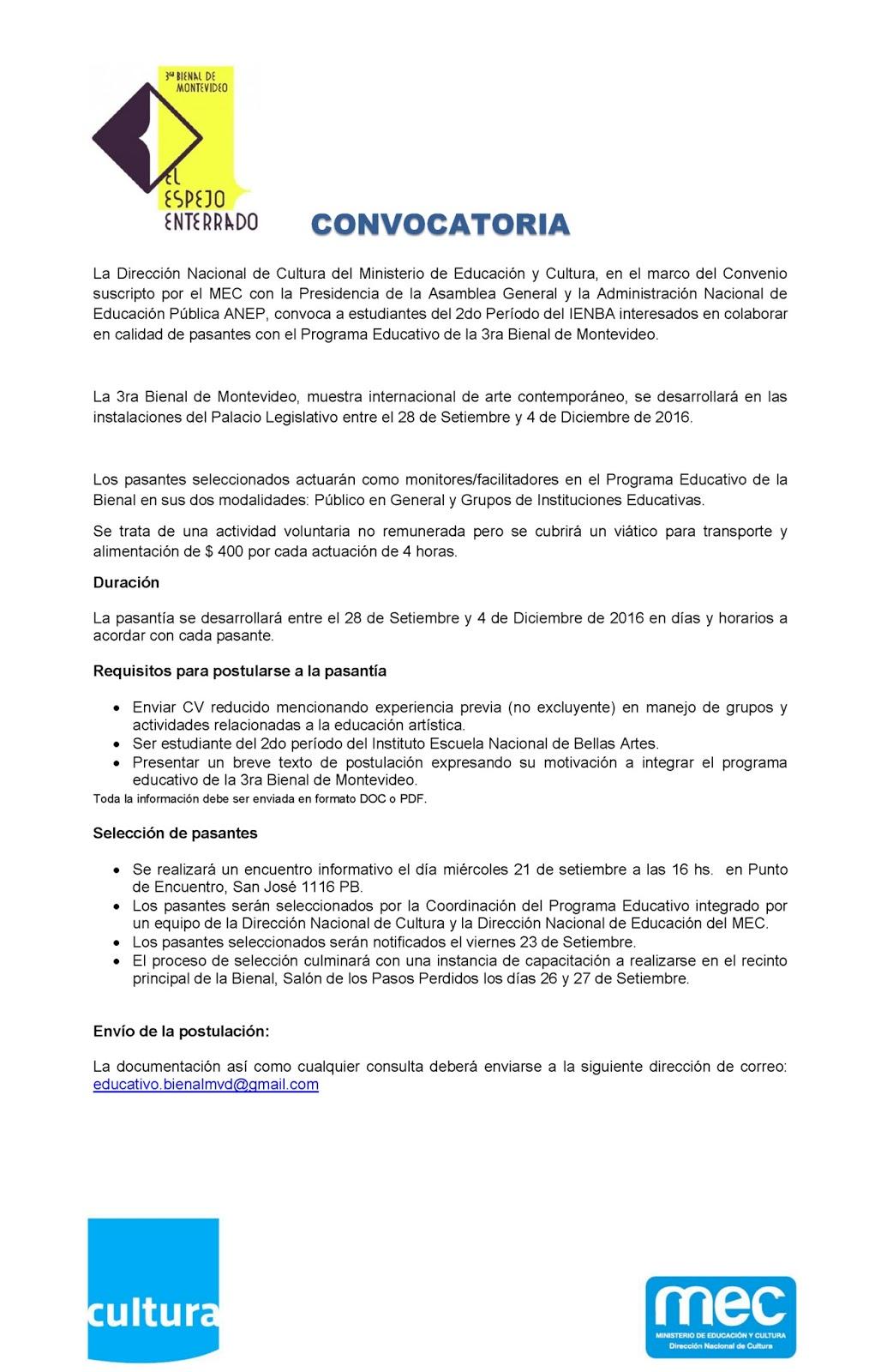 Urm convocatoria pasantes con el programa educativo de la for Convocatoria docentes exterior