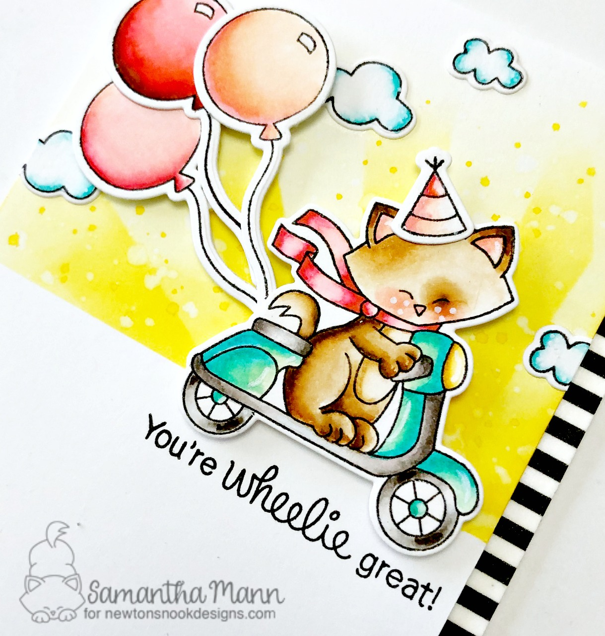 You're Wheelie Great  | Cat on scooter Card by Samantha Mann | Newton Scoots By Stamp Set by Newton's Nook Designs  #newtonsnook #handmade