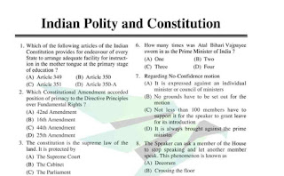 MCQ of Indian Polity and Constitution
