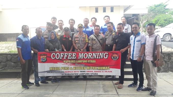 Ciptakan Pemilu Damai, Kapolres Lampung Utara Gelar Coffee Morning Bersama Wartawan