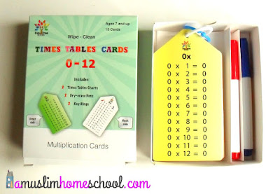 multiplication fact cards from fun tree books, includes dry errase pens and poster