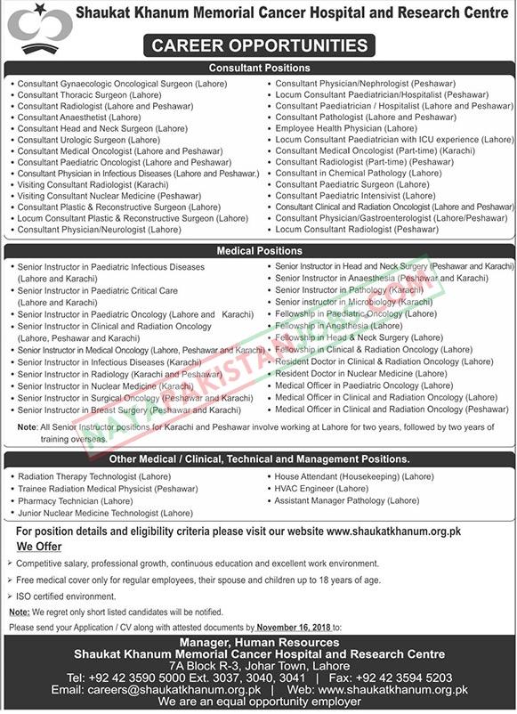 Latest Vacancies Announced in Shaukat Khanum Memorial Cancer Hospital Lahore 4 November 2018 - Naya Pakistan