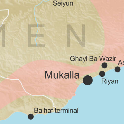 Map of territorial control in Yemen as of May 1, 2016, including territory held by the Houthi rebels and former president Saleh's forces, president-in-exile Hadi and his allies in the Saudi-led coalition and Southern Movement, Al Qaeda in the Arabian Peninsula (AQAP), and the so-called Islamic State (ISIS/ISIL). Includes recent locations of fighting, such as Taiz, Aden, Houta, Mukalla, and more.