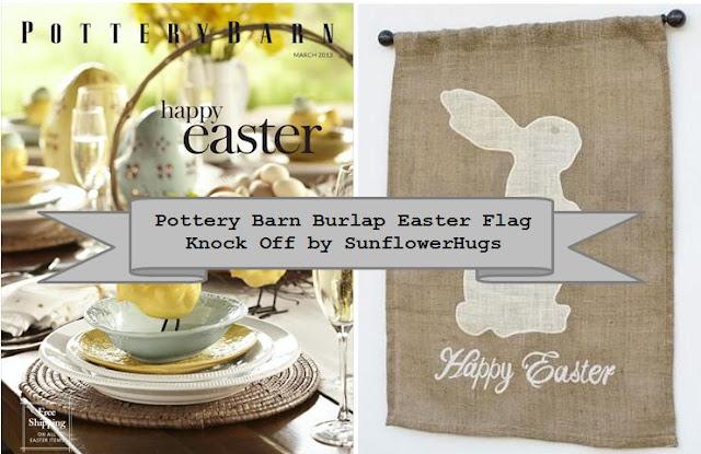 Sunflowerhugs Pottery Barn Burlap Easter Flag Knock Off