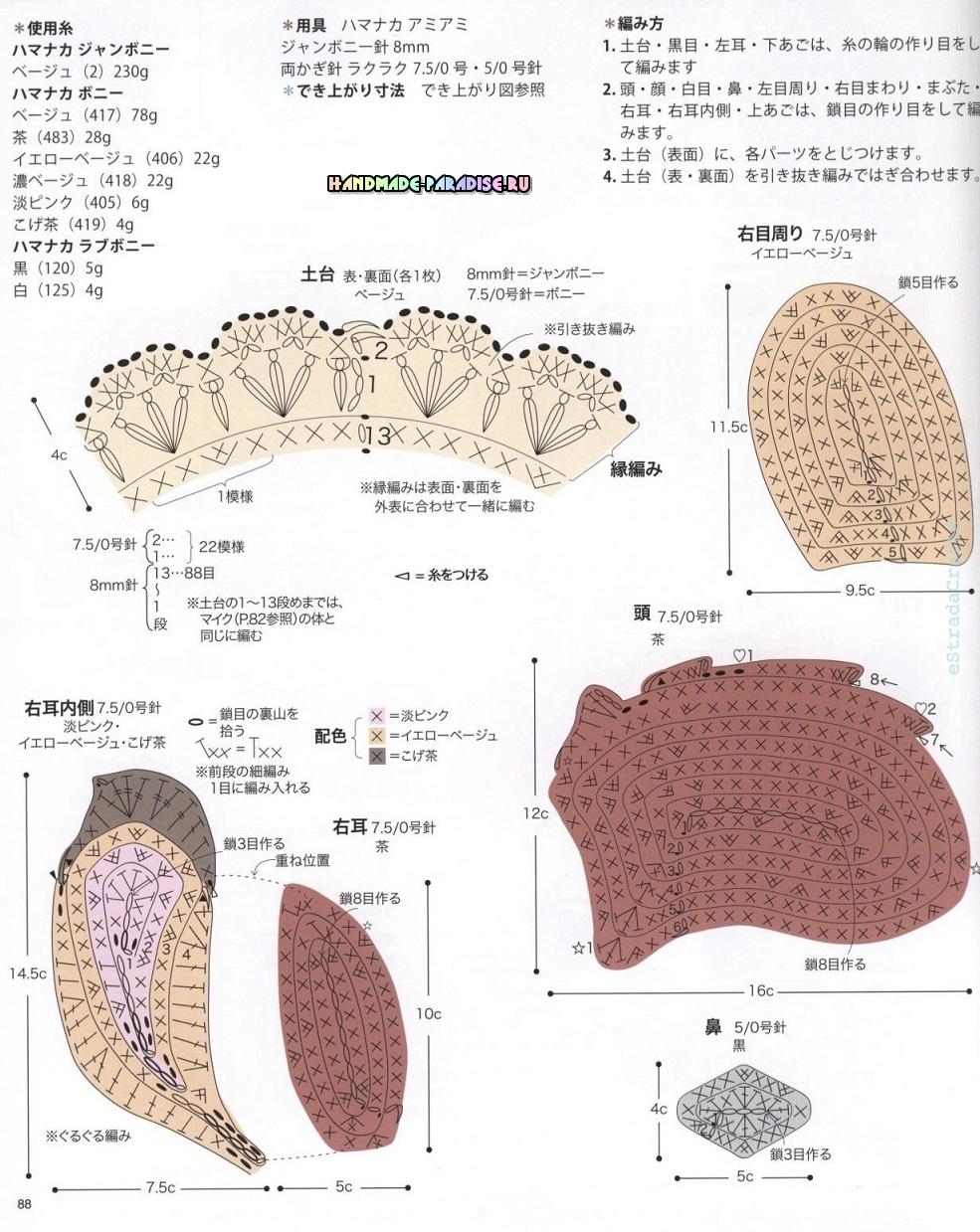 Схемы вязания сидушек в форме кошечки, олененка и слоника (3)
