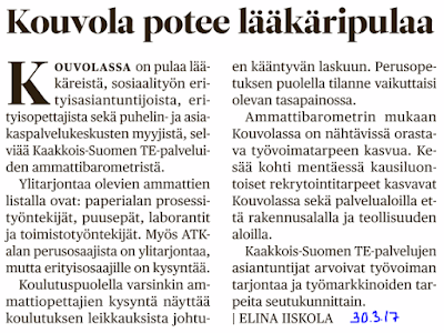 Pekka Korpivaara Kouvola potee lääkäripulaa