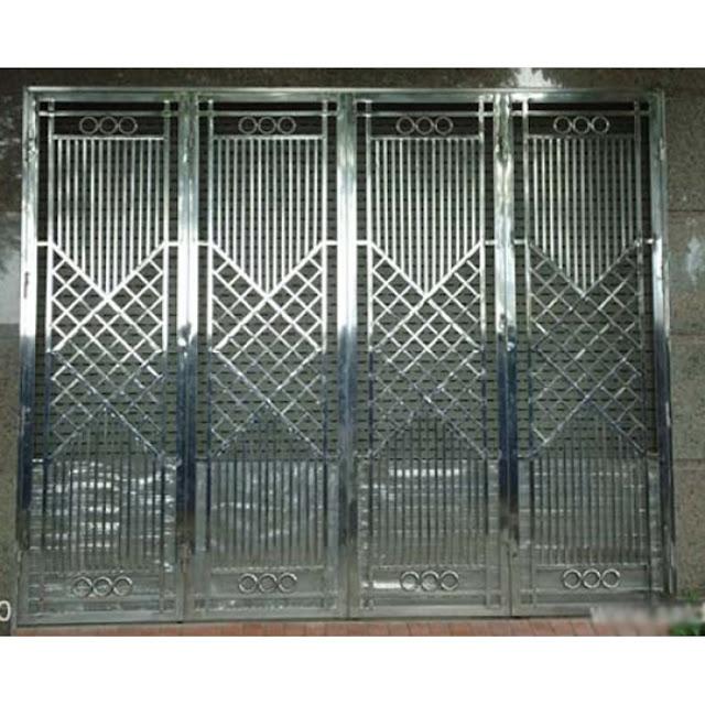 cổng inox 4 cánh đẹp - mẫu 4