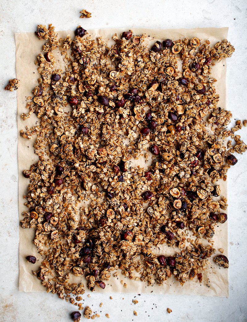 Just right for autumn, this vegan hazelnut granola is spiced with cinnamon, and sweetened with maple syrup. High in protein, low in sugar, and super healthy, this is the coziest granola.