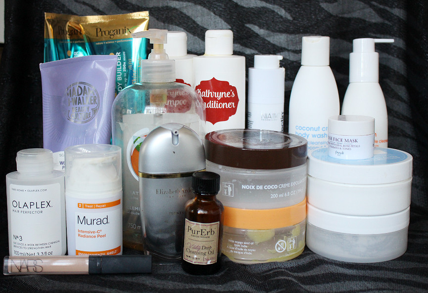Murad Intensive-C Radiance Peel, Strivectin Oxygen Infusuin Smoothing Mask, Elizather Arden Superstart, PurErb, Fresh Rose Mask, NARS Creamy Concealer, Lather Coconut Body Wash, Lather Coconut Body Souffle, Lather Coconut Body Scrub, Lather Ultra Mild Face Wash, The Body Shop, Olaplex, Proganix Volume, ProfielPro, Madam CJ Walker