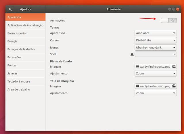 Configuração de efeitos no GNOME Shell