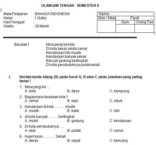 Download Contoh Soal SD/MI Kelas I Mata Pelajaran Bahasa Indonesia Semester 2 Format Microsoft Word