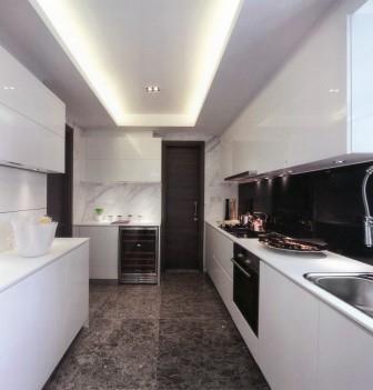 desain kitchen set kombinasi hitam putih desain rumah