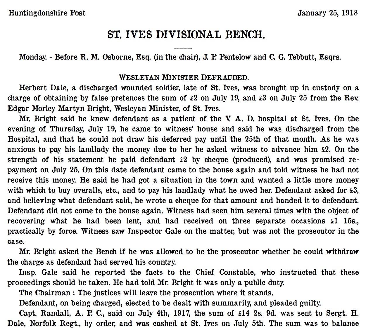 St Ives 25 January 1918