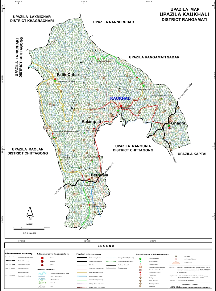 Kawkhali Upazila Map Rangamati District Bangladesh