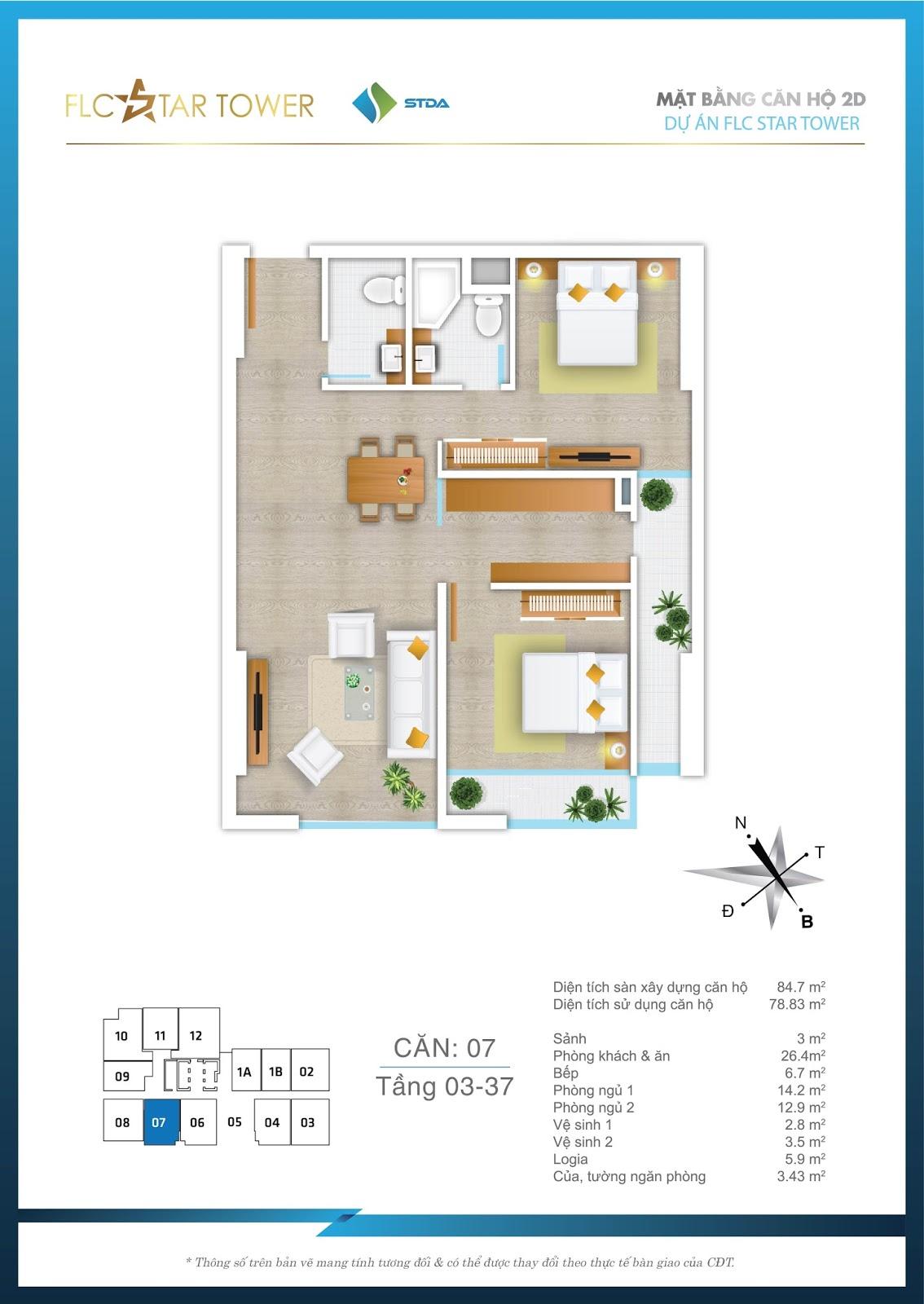 Thiết kế căn hộ 07 - Chung cư FLC Star Tower Hà Đông