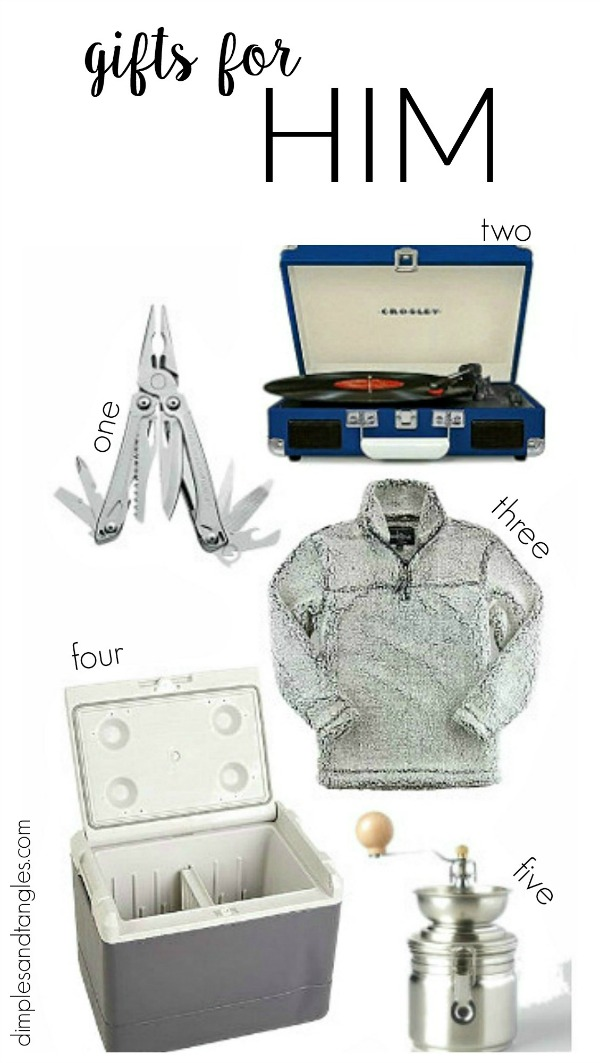 christmas gift ideas, gifts for him, plug in cooler, sherpa jacket, coffee grinder, leatherman tool, portable record player