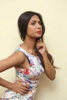 Nishi Ganda stunning cute in Flower Print short dress at Tick Tack Movie Press Meet March 2017 159.JPG