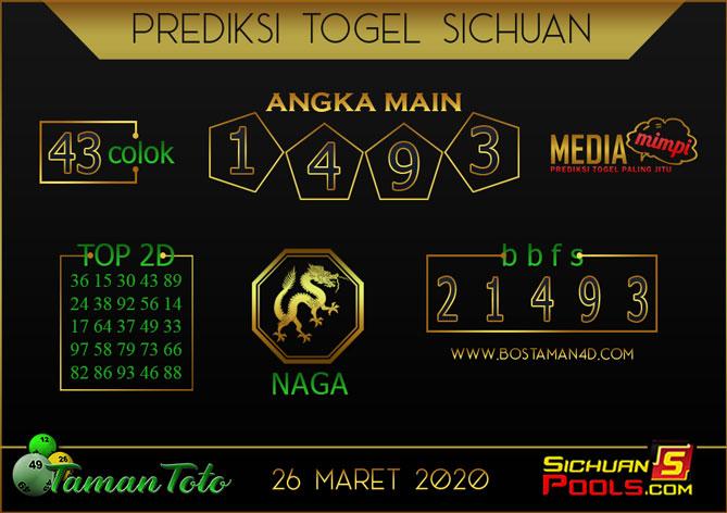 Prediksi Togel SICHUAN TAMAN TOTO 26 MARET 2020