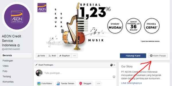 halaman facebook resmi aeon kredit service indonesia