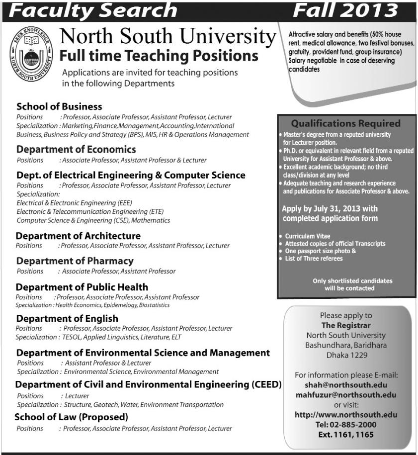 Faculty Search for Full time Teaching Positions : North South University