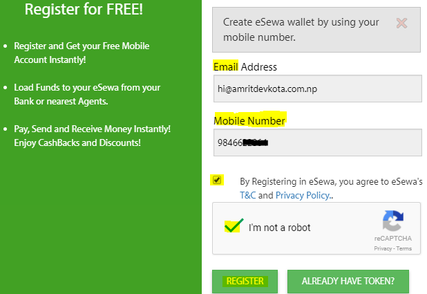 How to Create eSewa Account-- registration form