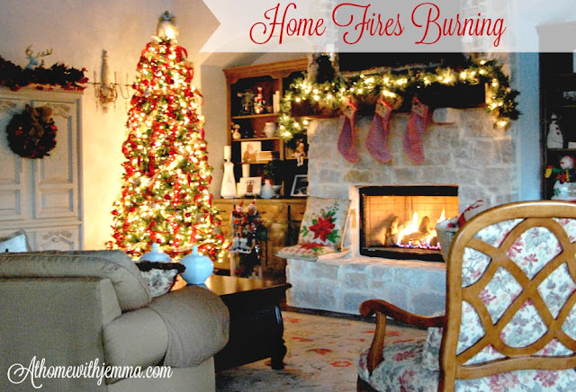 French-country-hutch-mantle-rustic-fireplace-decor-Holiday-cozy