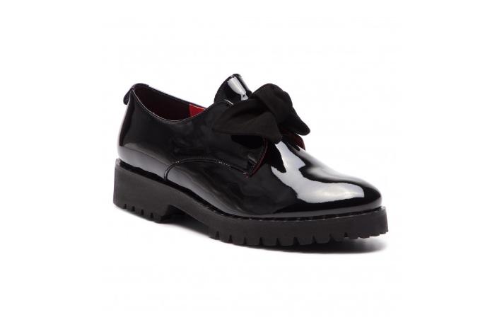 Pantofi Oxford dama negri piele naturala lacuita  KARINO