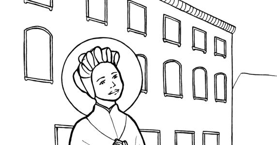 Snowflake Clockwork: St. Josephine Bakhita coloring page