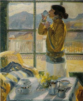 Clotilde tomando té,  Francisco Pons Arnau, Pintor español, Pintor Valenciano, Pintura Valenciana, Impresionismo Valenciano, Pintor Pons Arnau, Retratos de Pons Arnau