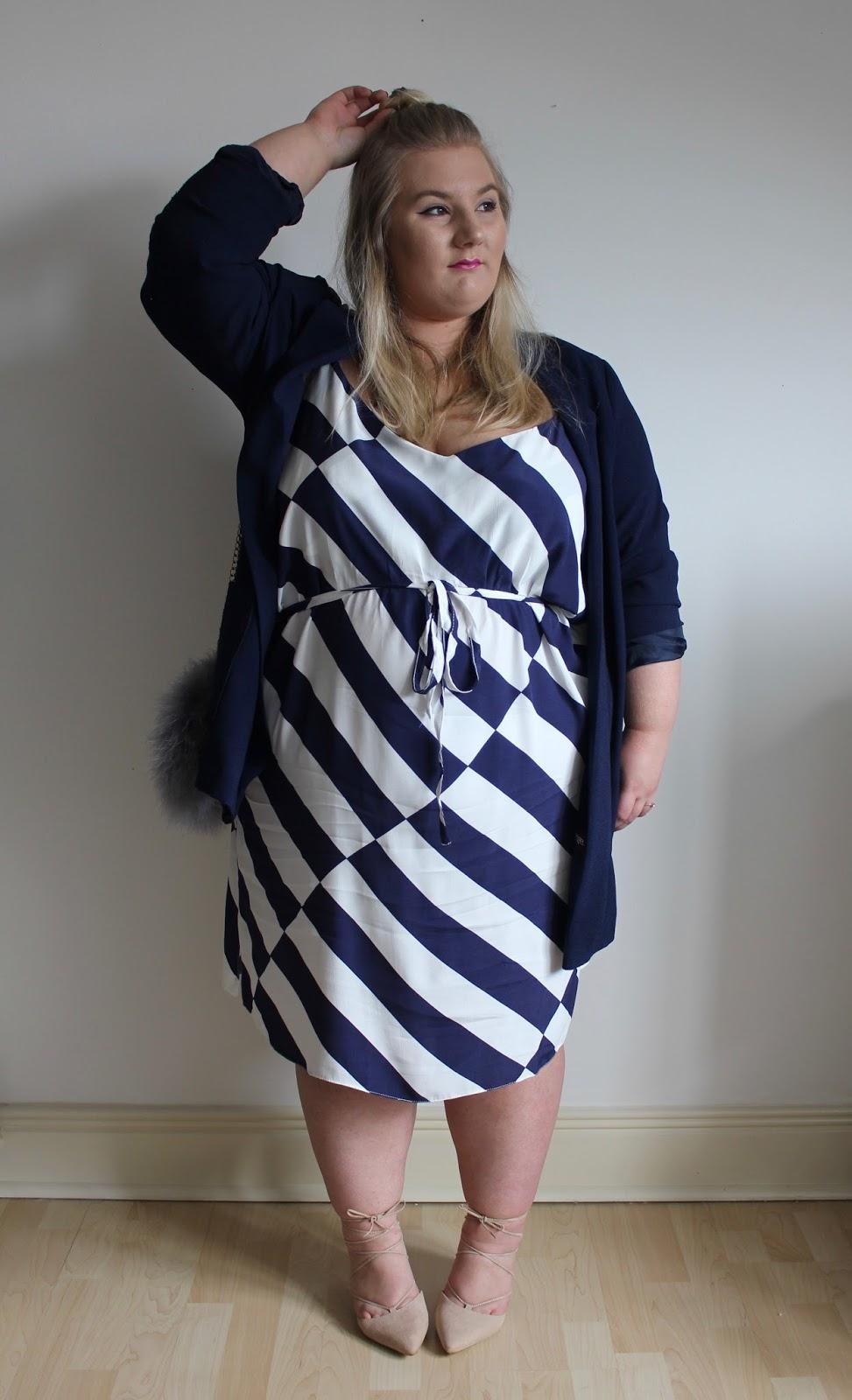 New Look Curves Blue Stripe Tie Waist Slip Dress