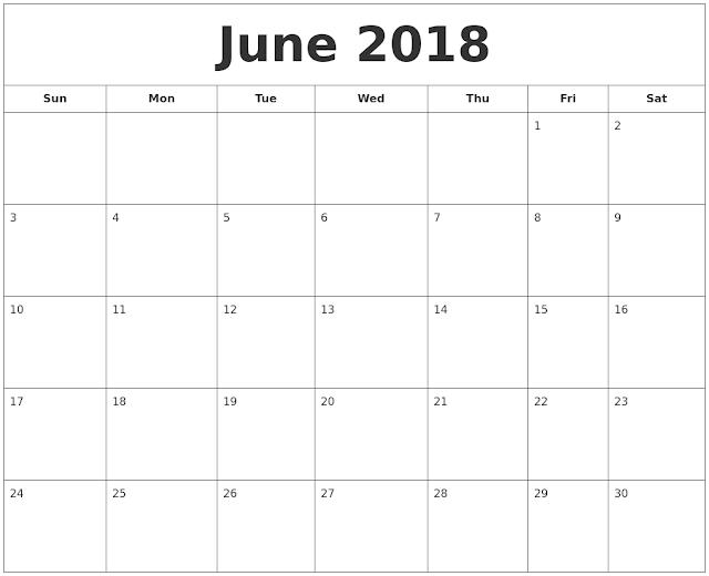FREE June calendar 2018