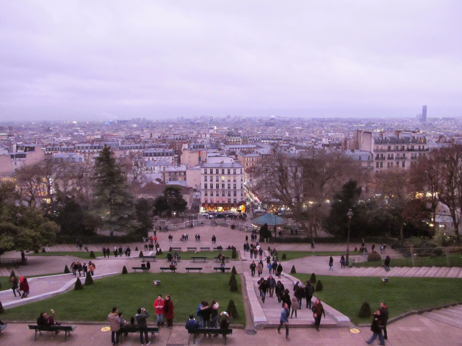 view from sacre coeur at sunset