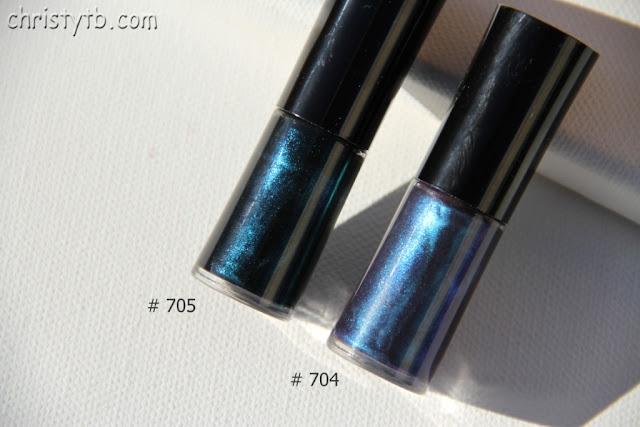 Giorgio Armani nail lacquer #704 Amethyst, #705 Black petrol