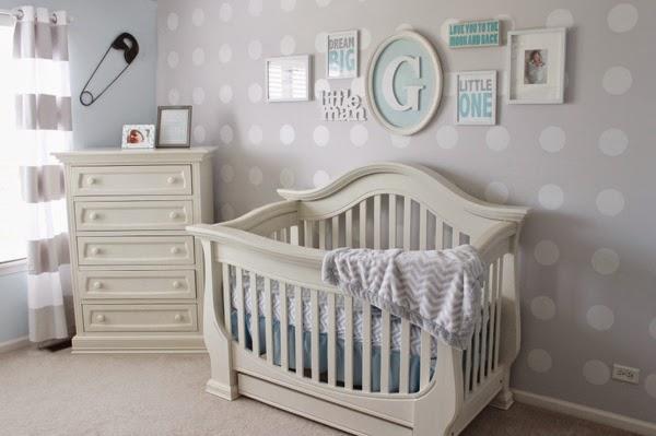 cuarto bebé color celeste gris