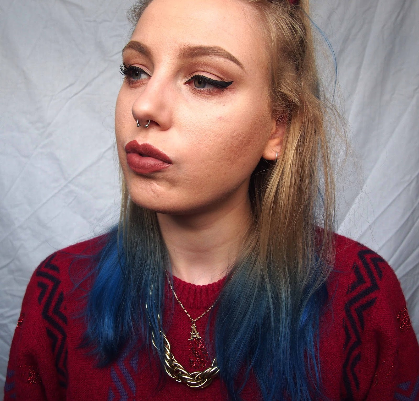 septum piercing, septum piercing advice, new spetum piercing, nyx liquid suede soft spoken, cat flick winged liner, vintage jumper, vintage gold chunky chain, vintage style 2