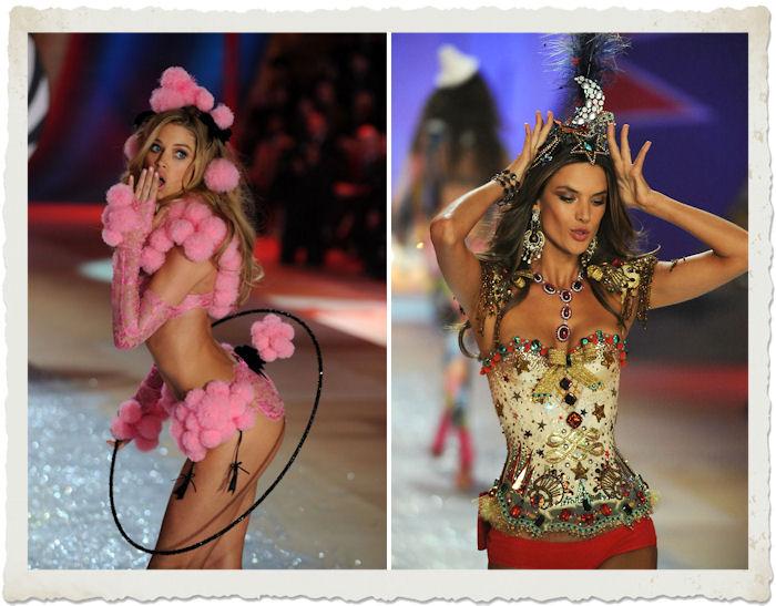 Doutzen Kroes e Alessandra Ambrosio durante la sfilata di Victoria's Secret 2012