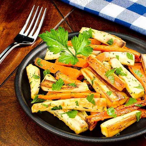Roast Carrots and Parsnips with herbs