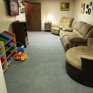Greatmats raised basement carpet tile family room