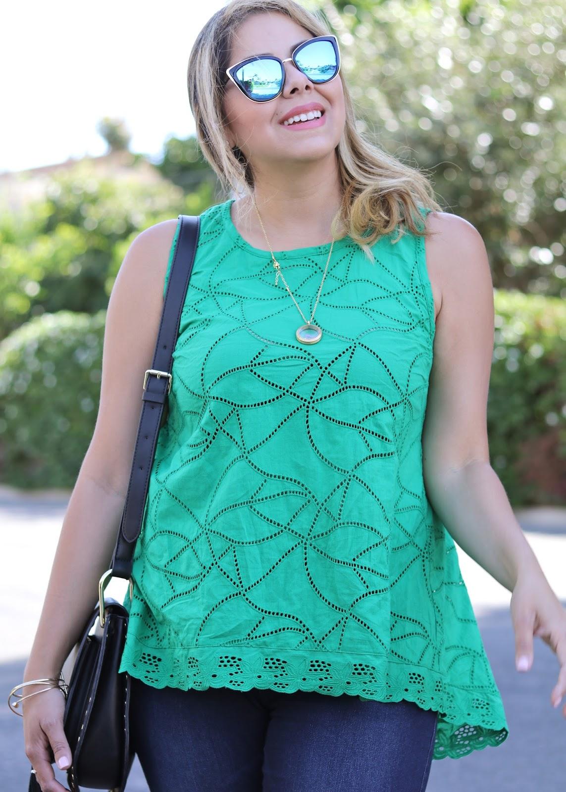 bright green top, origami owl necklace, quay sunglasses, latina fashion blogger