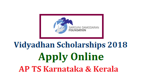 Vidyadhan Scholarships 2018 by Sarojini Damodaran Foundation Apply Online @www.vidyadhan.org/apply  Sarojini Damodaran Foundation inviting Online Applications from 10th Class Meritorious Students from poor Families . Scholarships Programme to 10th class Students in AP and Telangana. Needy and Intrested Students may submit their Application Form Online through the web portal Vidyadhan Scholarships by Sarojini Damodaran Foundation Apply Online @www.vidyadhan.org/apply. How to Submit Online Application Form Eligiility criteria required Information to complete the process. Selection Procedure Online Application form and complete details are available here under vidyadhan-scholarships-by-sarojini-damodaran-foundation-apply-online