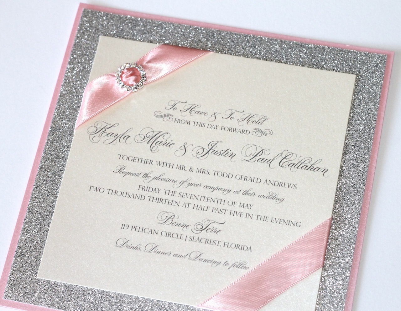Gorgeous Wedding Invitations: Embellished Paperie: Gorgeous Silver Glitter, Pink And