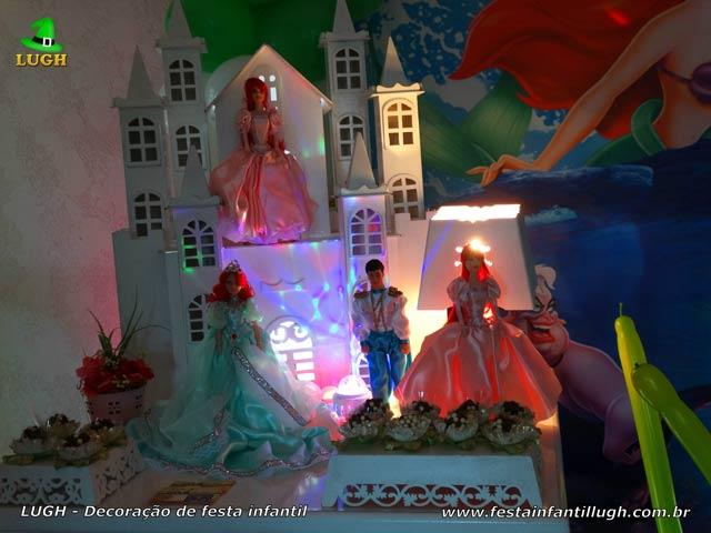 Decoração de aniversário infantil Pequena Sereia - Mesa temática