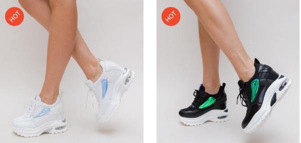 Adidasi fete moderni negri, alba cu platforma inalta model nou