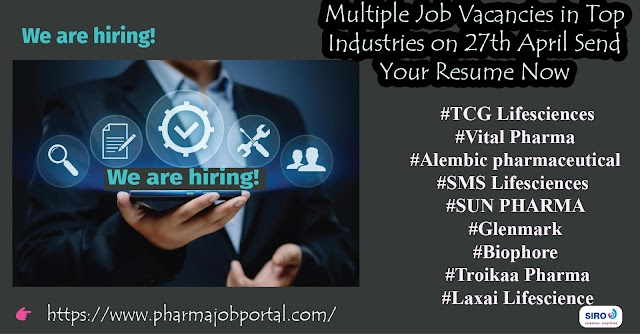 Multiple Job Vacancies in Top Industries on 27th April Send Your Resume Now