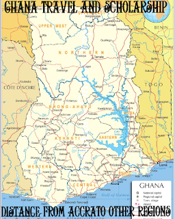 Distance from Accra to other regions