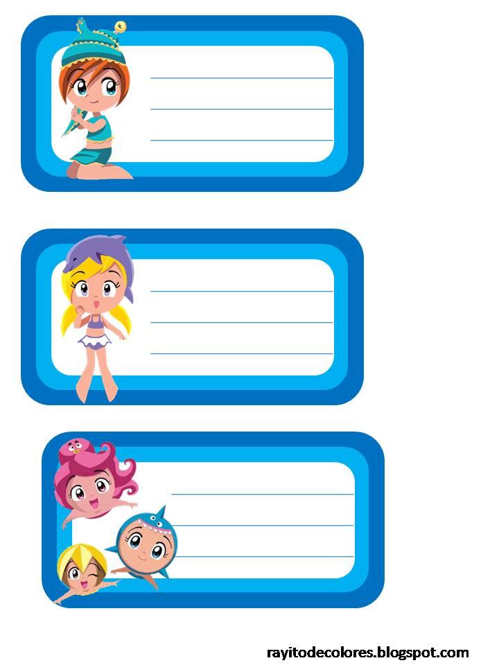 Etiquetas escolares de Princesas del Mar