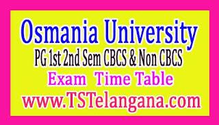 Osmania University PG 1st 2nd Sem (CBCS & Non CBCS) Time Table 2017