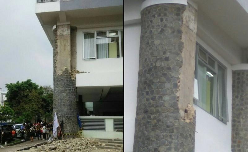 Batu pilar gedung CADL ITB yang runtuh