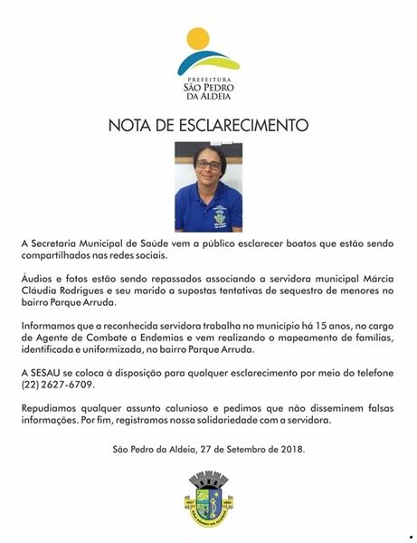 Secretaria de Saúde de São Pedro da Aldeia lança nota após boatos de sequestro de menores