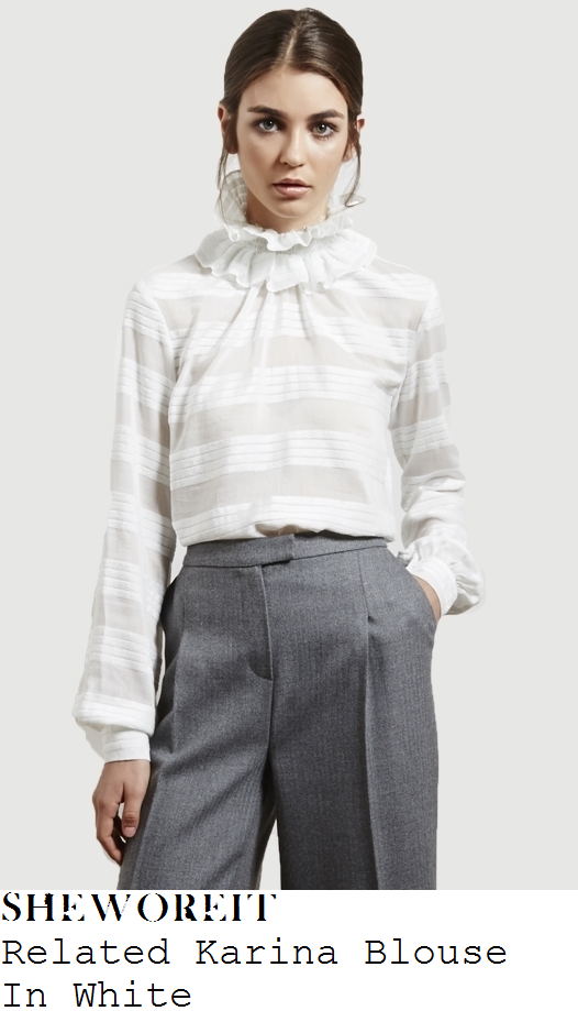 rosie-fortescue-white-striped-long-sleeve-high-ruffle-neck-blouse-instagram